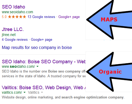 What is organic vs. maps google placement?